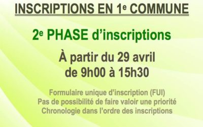 2e phase d'inscriptions