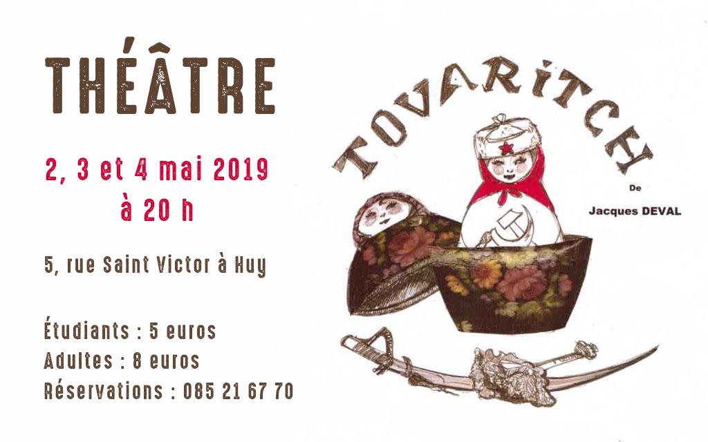 THÉÂTRE : Tovaritch – 2, 3 et 4 mai 2019 à 20 h