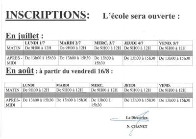Inscription Secondaire Juillet - Août 2019