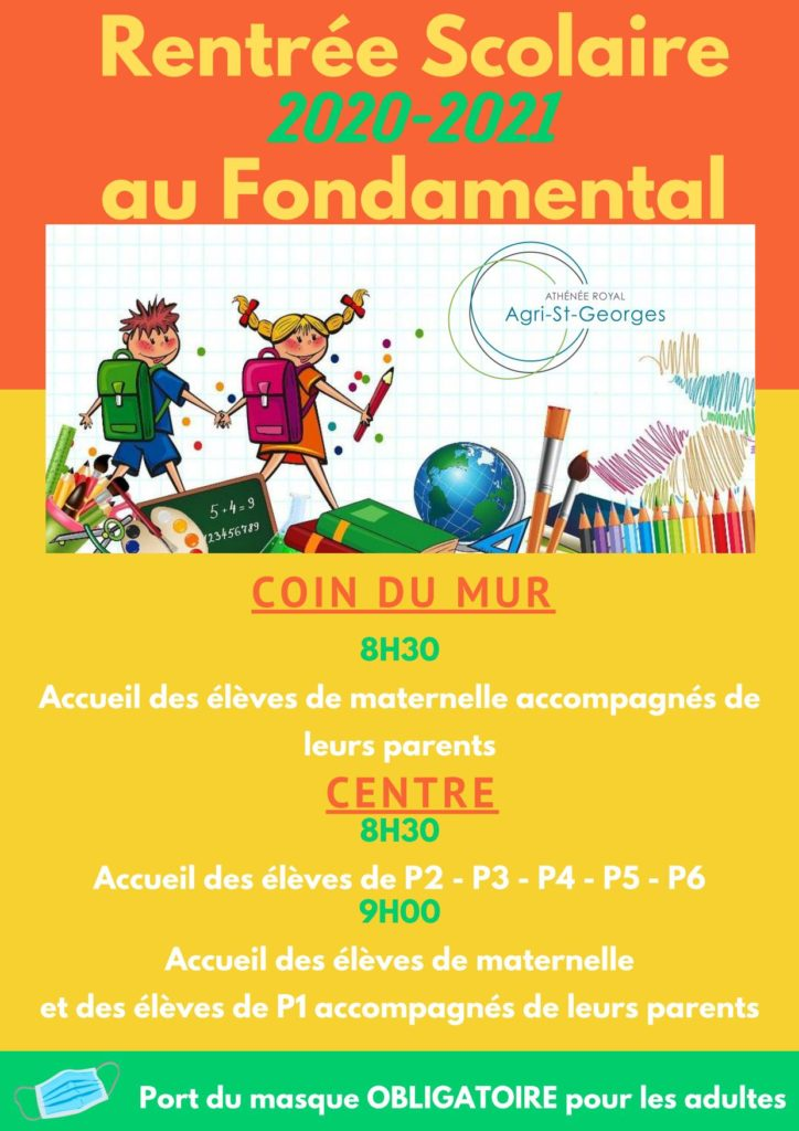 Rentrée scolaire 2020-2021 au Fondamental - Agri-Saint-Georges - port du masque obligatoire pour les parents.